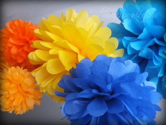 6 Tissue Paper POM POM Set + 3 FREE Pom Poms // Wedding Decorations // Party Decorations // Pom Poms