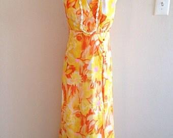 Vintage 1980s Maxi Hawaiian Yellow and Orange Floral Print