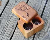 Wood Ring Box- Double Ring Box- Rustic Wedding - Personalized Ring Bearer- Rustic Two Ring Holder