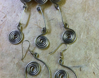 Wire Spirals Pin and Earrings