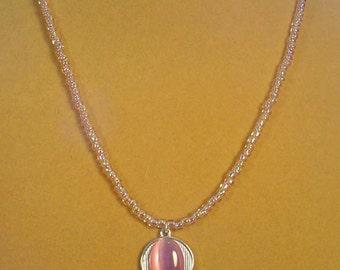 """Sparkling pink 18"""" glass cats eye necklace - N336"""