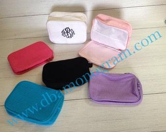 SET OF 8- Monogram Waffle Cosmetic Bag, Embroidered Cosmetic Bag, Monogram Toiletry Bag Great Bridesmaid Gift