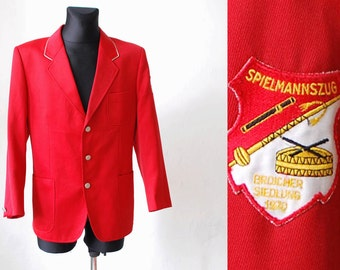 70s marching band jacket. men's band jacket. red wool jacket. authentic 1970 marching band blazer - men's large L XL