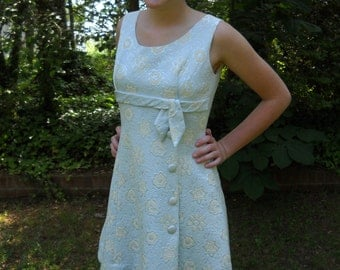 Vintage Cover Girl of Miami Dress Blue with Yellow Flowers circa 1950s to 60s