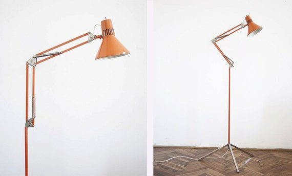 Vintage Tripod Orange Floor Lamp / Architects Eames Era
