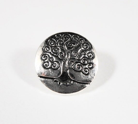 Silver Tree Buttons 14mm Antique Silver Metal Shank Buttons, Tree of Life Buttons, Wrap Bracelet Buttons, Sewing Buttons Craft Supplies 5pcs