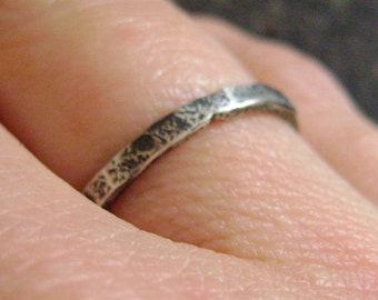 OXIDIZED STACKER - Silver Ring, Hammered Ring, Stacking Ring, Oxidized, Minimalist Jewelry, Hammered Band, Your SizeTextured Silver Ring, Ca