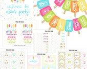 Popsicle Birthday Party - Ice Cream Birthday - Kids Summer Party - Girls Birthday Party Kit - DIY Party Package - Kids Birthday Printables