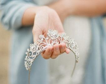 Swarovski Bridal Tiara, Crystal Floral Tiara - ROSAFLORA, Swarovski Bridal Tiara, Wedding Crown, Rhinestone Tiara, Wedding Tiara