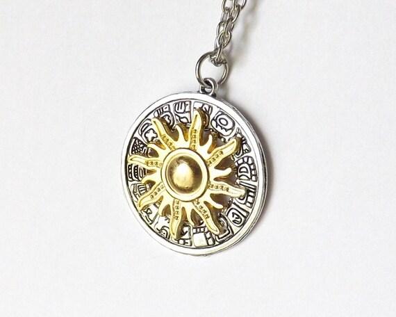 Mayan sun necklace gold sun aztec sun mayan calendar like this item aloadofball Image collections