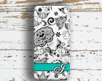 Monogrammed gifts, Women's iPhone 6 Plus case, Flower iPhone 5 case, Floral iPhone 5c case, Pretty Iphone 6s case, Black turquoise (1376)