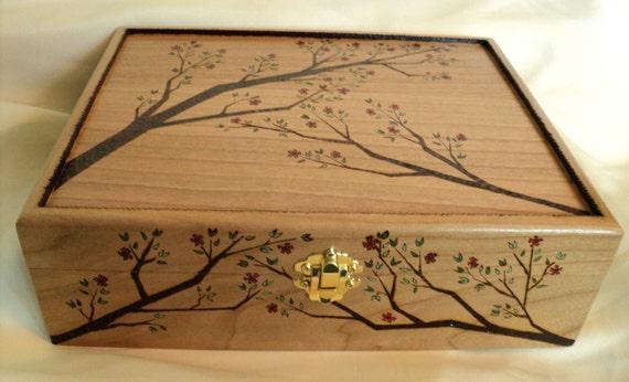 Cherry Wood Wooden Jewelry Or Keepsake Box Woodburned Cherry