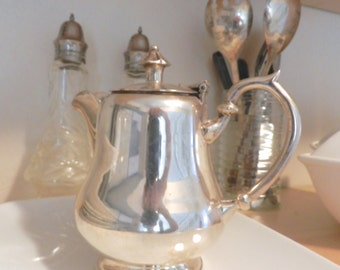 Silver Plated Tea Pot.Creamer.Vintage Wedding.Bed and Breakfast.Shabby Chic Cottage Decor