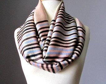 Pashmina infinity scarf, Beige infinity scarf, ivory scarf,  striped scarf, handmade scarf