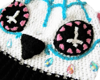 Sugar Skull Kitty Beanie - Day of the Dead Cat Hat - Pink Turquoise White Sparkly Dia De Los Muertos Beanie - Skull Kitty Kawaii Hat