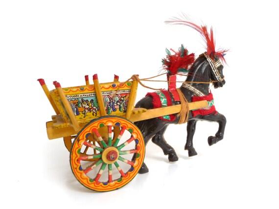 vintage sicilian cart sicily folk art italian souvenir