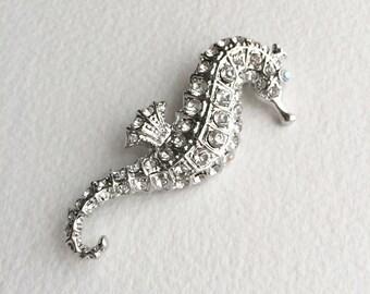 beach wedding brooch,Beach wedding accessories,seahorse brooch,seahorse wedding,silver seahorse rhinestone crystal wedding bridal brooch