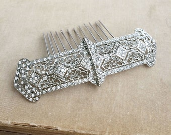 art deco comb,1920s, bridal hair, art deco headpiece,large, Bridal hair comb, wedding comb, WIRED silver crystal rhinestone