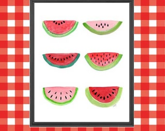 Watermelon, Kitchen Print, Farmers Market, Red Kitchen Decor, Watermelon Print, Picnic, Retro Kitchen Decor, 8x10, Summertime, Fruit Print
