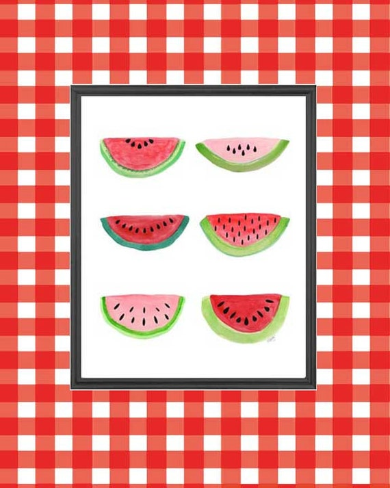 Watermelon Watercolor Print, 8x10