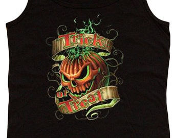 Ladies black tank top / Trick or Treat