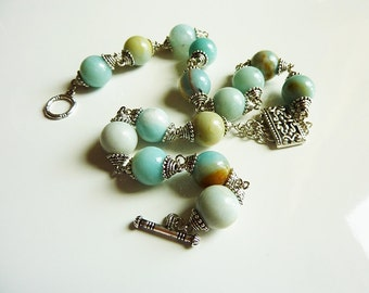 Opague Teal Moss Amazonite Necklace