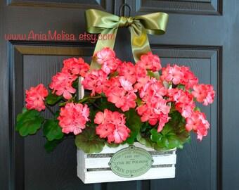 spring wreath summer wreath front door wreaths coral geranium wreaths for front door wreaths welcome  gift ideas