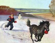 Boy Chasing Shetland Pony in Snow Wesley Dennis Vintage Illustration Print 1950s, Inexpensive Wall Art to Frame