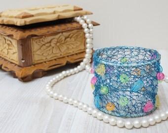Wire crochet bracelet bangle cuff blue handmade teal turquoise ocean purple pastel pink green orange purple bead clear wrap knit