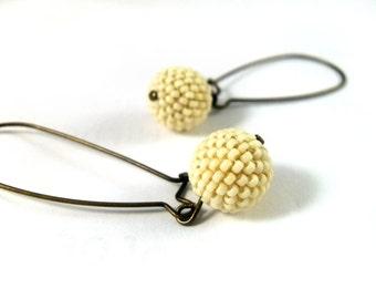 Long beige earrings, bronze earrings, beaded beads