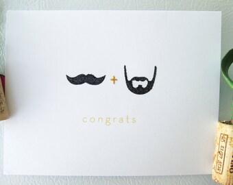 Mustache & Beard - Marriage Equality, Same Sex - Wedding Congrats Card