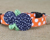 Team Dog Collar - Orange Dot with Navy Pin Dot Flowers and Green Leaves