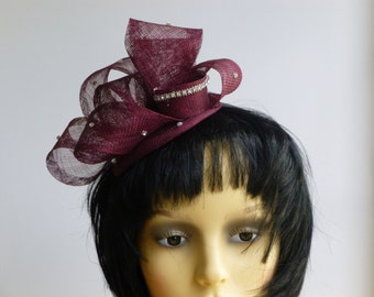 Clearance sale - Red Fascinator/ head piece/ hat with Diamante