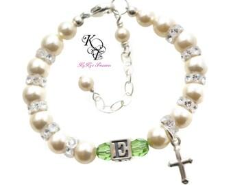 Baby Bracelet, Baptism Bracelet, Little Girl, Personalized Baby Bracelet, Cross Bracelet, Baby Shower Gift, Keepsake Gift, Baby Gift