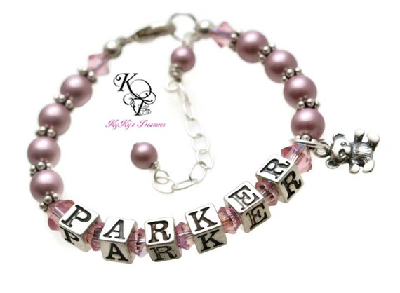 Baby Shower Gift Jewelry ~ Personalized baby bracelet shower gift by