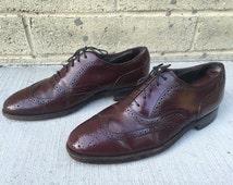 Vintage Oxblood Wingtip Shoes / Stafford Leather Oxfords Men's 8-1/2 D