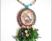 Beautiful bird - Bead embroidered necklace with blue bird cameo
