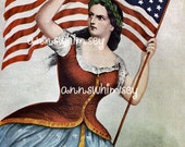 Patriotic Civil War Flag Bearing Woman, GREAT Gift for Attorney, Teacher, Professor,  RESTORED Antique Print #74