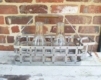 Aluminum Farmhouse/Industrial Dairy Milk Bottle Carrier with Two, Qt. Size Milk Bottles