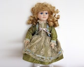 Vintage German Doll 1970s Porcelain Doll, Collectible Doll Victorian Collection