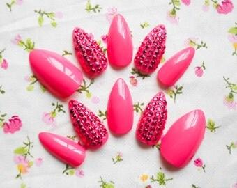 Pink Rhinestone Stiletto Nails / Fake Nails / Press on Nails / Hot Pink / Magenta / Nails