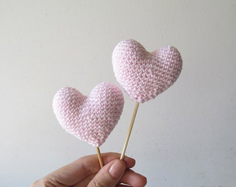 Amigurumi Crochet Cinderella Pink Heart (Set of 2) - Cake topper - Wedding table decor - Birthday party decoration
