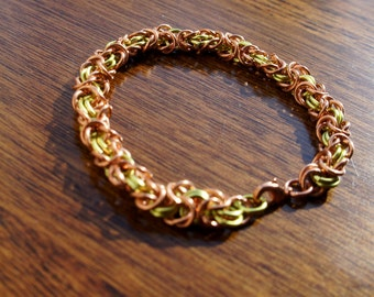 Stunning Pure Copper and Peridot Colored Byzantine Chainmaille Bracelet