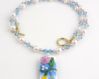 Floral Blue and White Beaded Lampwork Necklace, Pendant Necklace, Statement Necklace, Summer Jewelry, Wedding Jewelry