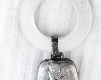 EDWARDIAN Sterling Silver Little Girl Child & Lamb Dog WEBSTER Antique Nouveau Heirloom Baby Rattle Mother of Pearl Lucite Teething Ring