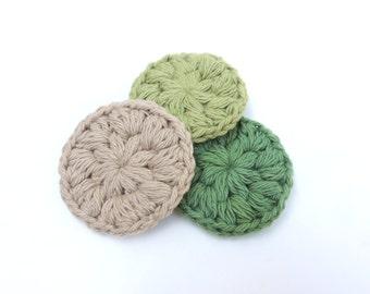 Face Scrubbies, face scrubby, Crochet cotton scrubbies, cotton scrubby, Mini Washcloths, Eco-friendly, Set of 3,Crochet Makeup Removers