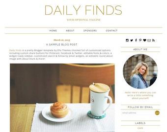 "Blogger Template Premade Blog Design - ""Daily Finds"" Instant Download Pretty Gold Blog Design Responsive"