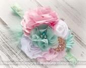 Mint, Pink & Gold Fabric Flower Headband - girls, baby, newborn, toddler, shower, gift, bows, photography, photo, prop, white, wedding