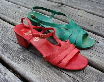 60's Italian Leather Sandals Red 7.5