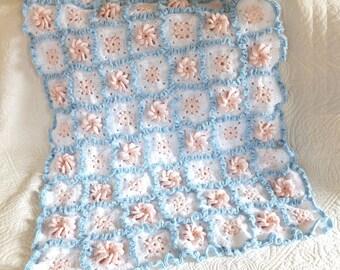 Crochet Baby Blanket - Crocheted Granny Square Ruffle Blanket